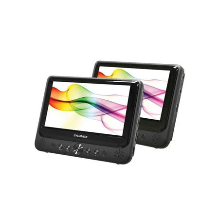 "Sylvania SDVD9805 9"" Dual-Screen Portable DVD Player 16:9 USB SD Card Compatible - Manufacturer Refurbished"
