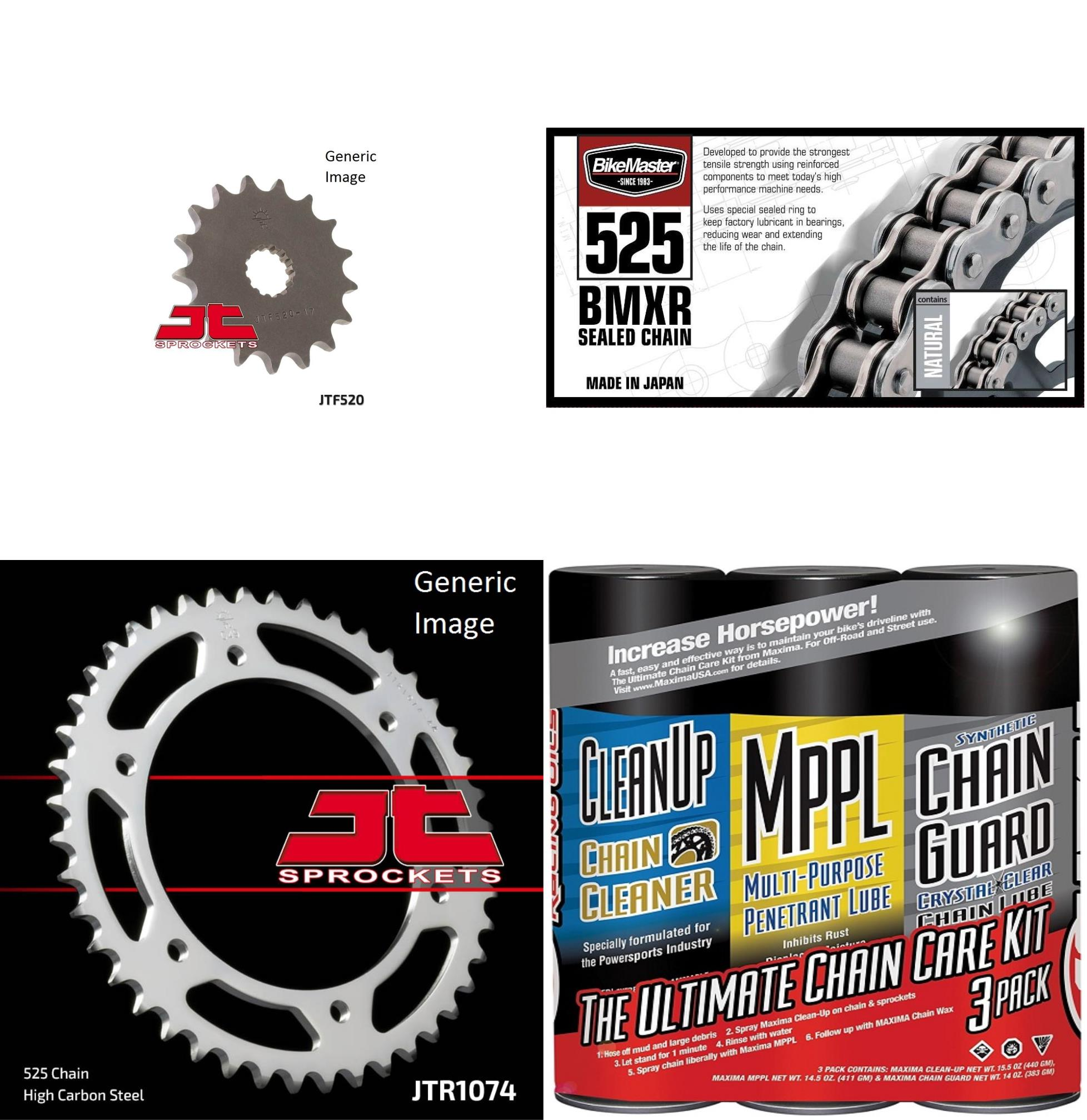 BIKEMASTER 525 BMXR Sealed Chain Natural with MAXIMA Wax, JT Front & Rear Sprocket Kit for Street HYOSUNG GT650 S 2005-2009