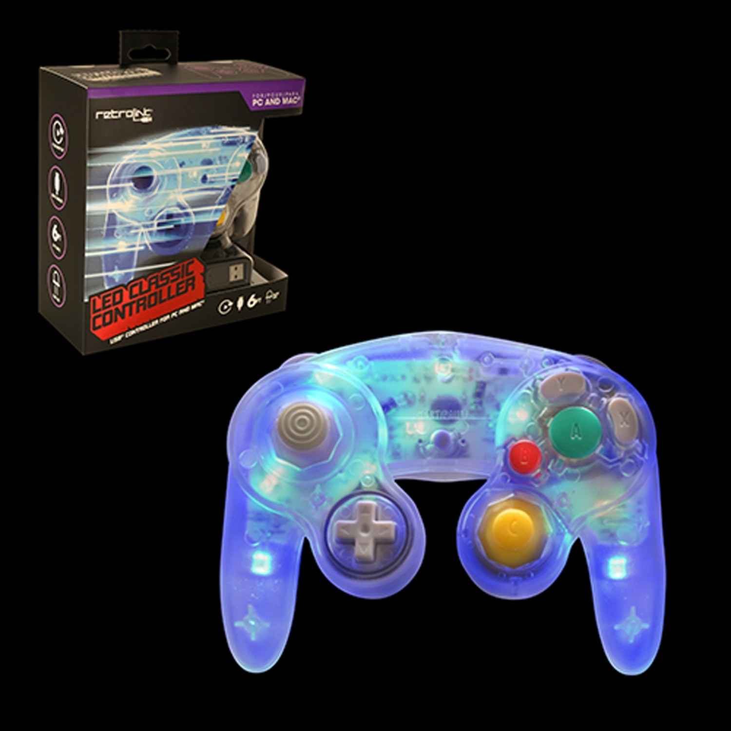 PC - Controller - Wired - Gamecube Style - USB Controller for PC & MAC - Blue LED (Retrolink)