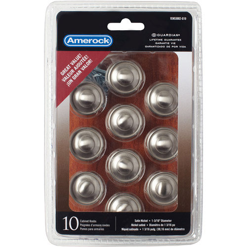 "Amerock Satin Nickel 1-3/16"" Discus Knobs, 10pk"