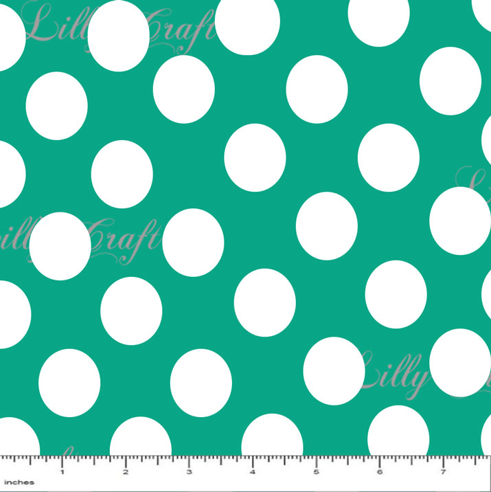 """1"""" White Dots on Teal Poly Cotton Fabric - Sold By The Yard - 58"""" / 59"""""""