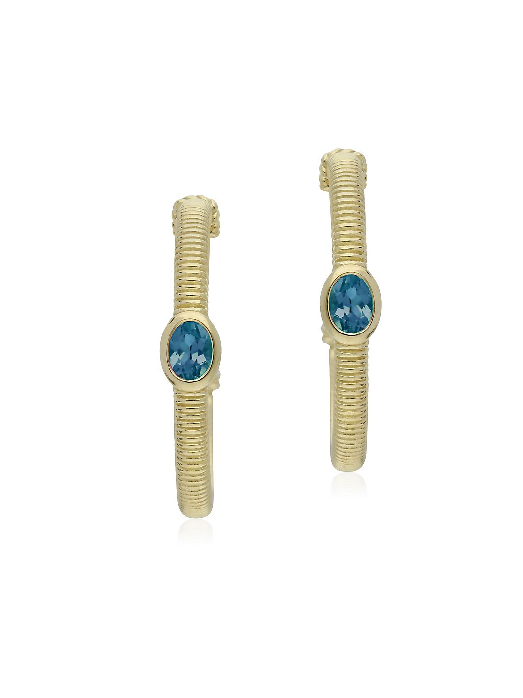 La Petite 14K Yellow Gold & Swiss Blue Topaz Hoop Earrings