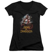 Mgm Army Of Darkness Bloody Poster Juniors V-Neck Shirt