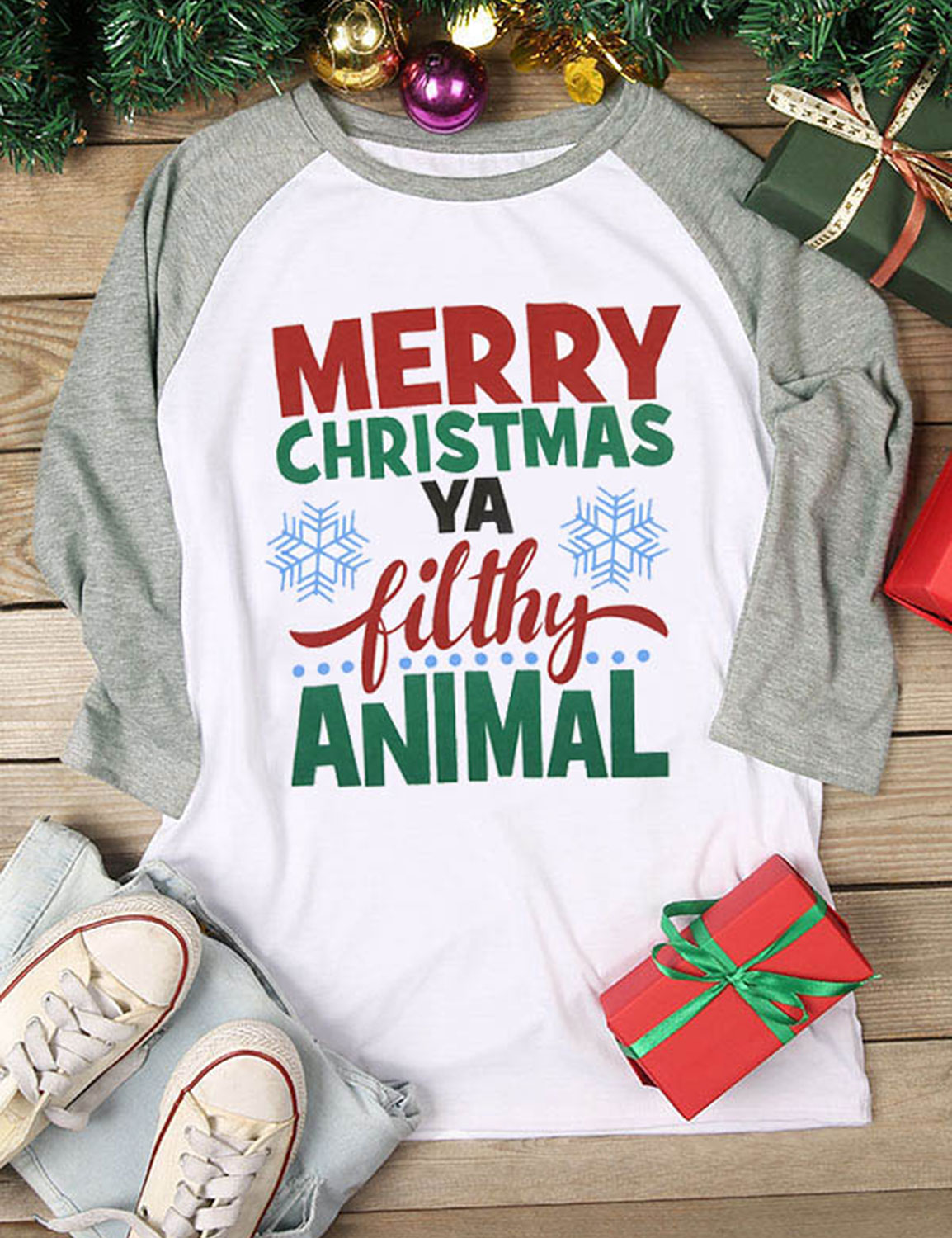 17f3167cc77b DBoard - DBoard Women Merry Christmas Animal Letter Print Round Neck Long  Sleeves Color Block Casual Tops T-Shirt - Walmart.com