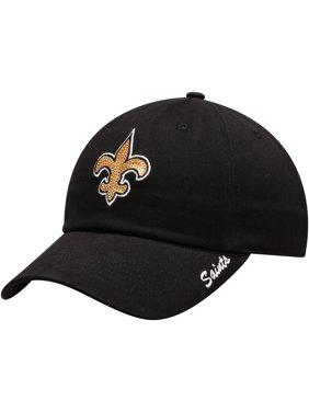 Women's Black New Orleans Saints Team Color Sparkle Adjustable Hat - OSFA