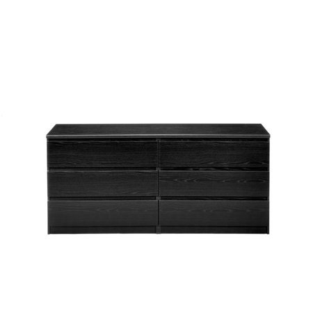 Pemberly Row 6 Drawer Double Dresser in Black Woodgrain ()