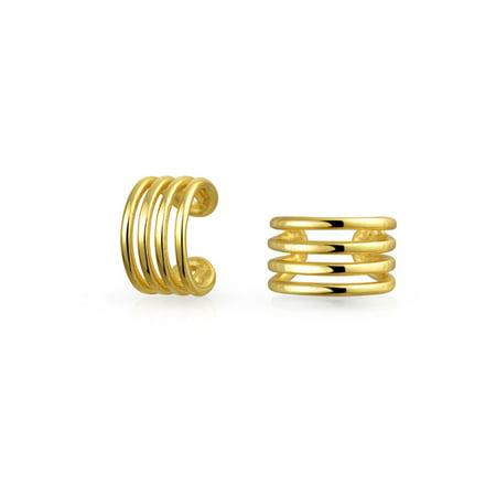 Minimalist Geometric 4 Split Band Cartilage Ear Cuffs Clip Wrap Helix Earrings 14K Gold Plated Sterling Silver