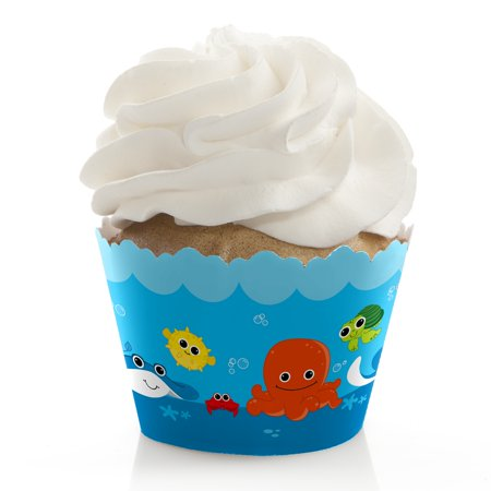 Under the Sea Critters - Baby Shower or Birthday Party Cupcake Wrappers - Set of 12 - Under The Sea Quinceanera Ideas