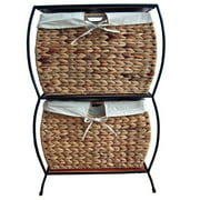 Pangaea Home and Garden Seagrass Basket Storage 2 Drawer Vertical Filing Cabinet