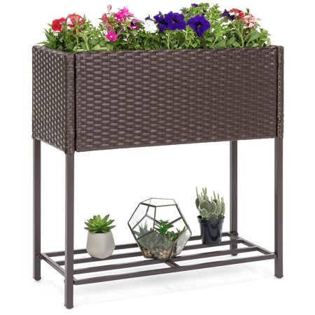 Best Choice Products 2-Tier Indoor Outdoor Wicker Elevated Garden Planter Box Stand for Potted Flowers, Plants, Herbs, Succulents,