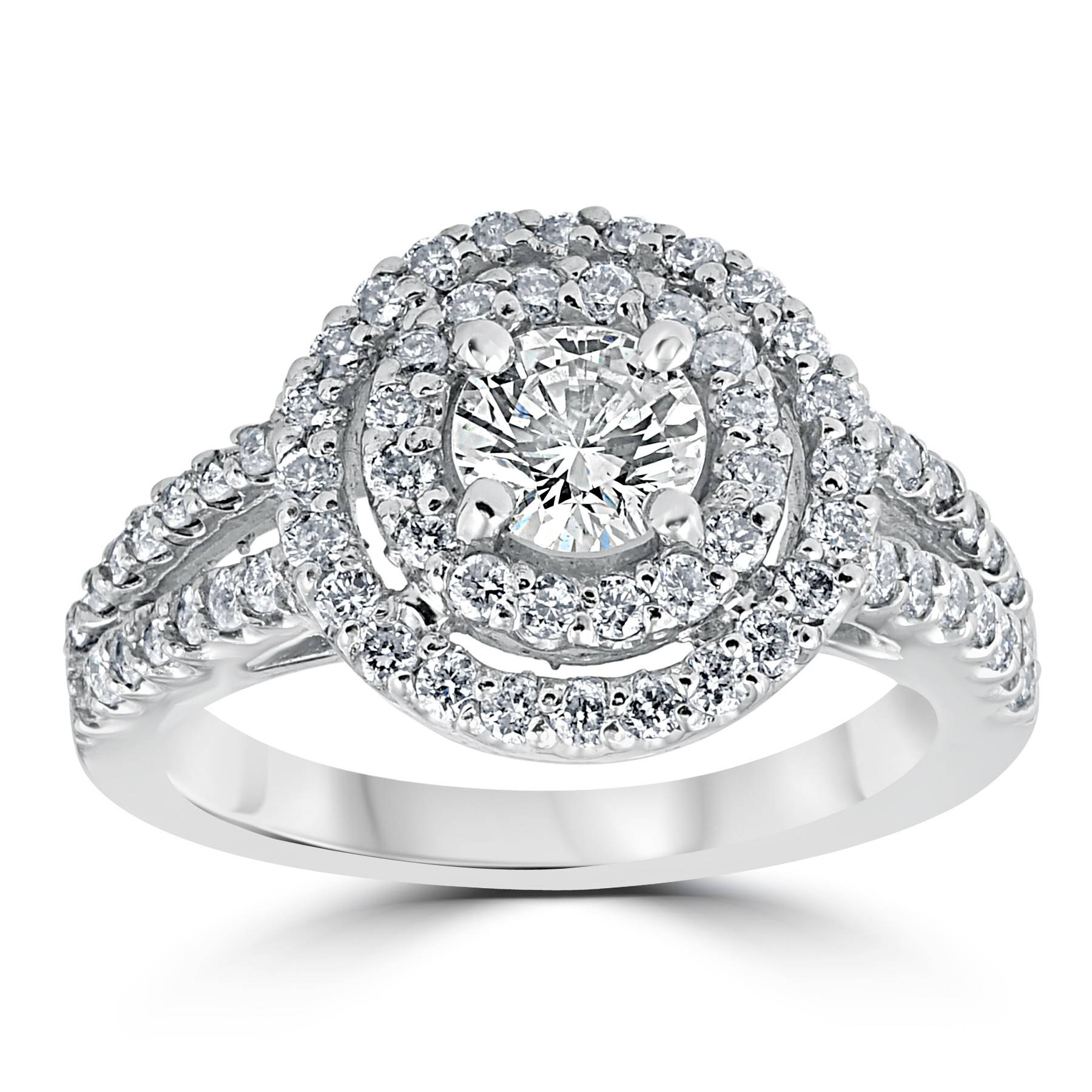 1 1 2 cttw Pave Double Halo Round Brilliant Cut Engagement Ring 14K White Gold by Pompeii3