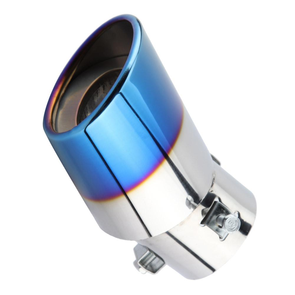 Enrilior Chrome Blue Stainless Steel Universal Car Straight Exhaust Pipe Rear Muffler Tip Tail Throat