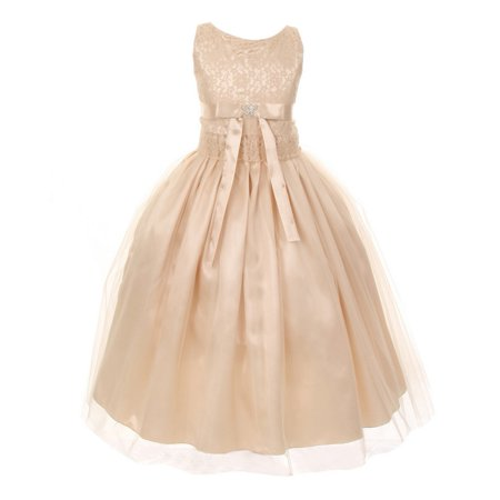 Little Girls Champagne Lace Satin Tulle Overlay Special Occasion Dress 4](Satin Dress With Lace Overlay)