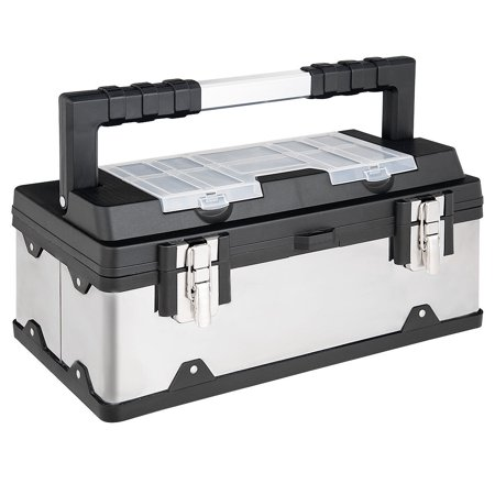 Pelican Case Lid Organizer (Costway 18 Inch Tool Box Stainless Steel and Plastic Portable Organizer w/ Lid Organizer )
