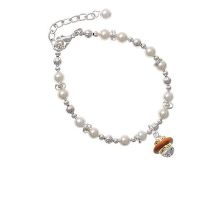 (Goldtone Translucent Brown Center Spinner Imitation Pearl Beaded Bracelet)