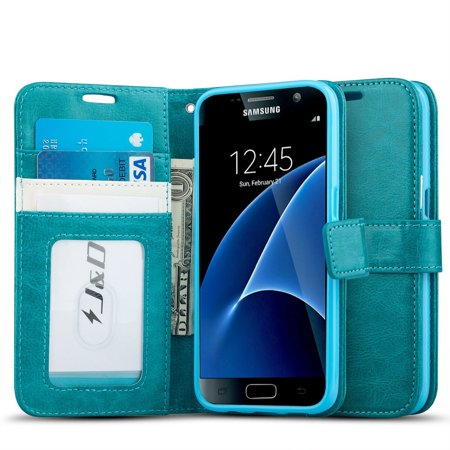 Galaxy S7 Case, J&D [Wallet Stand] Samsung Galaxy S7 Wallet Case Heavy Duty Protective Shock Resistant Wallet Case for Samsung Galaxy S7 - Aqua