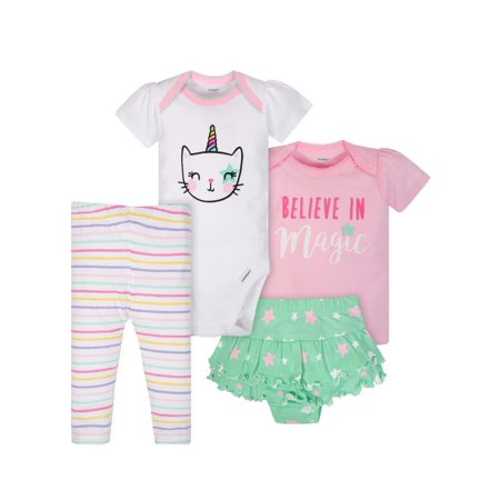 Ruffled Onesies (Bodysuit, Shirt, Ruffle Skort and Pant Mix N Match Outfit Set, 4pc (Baby)