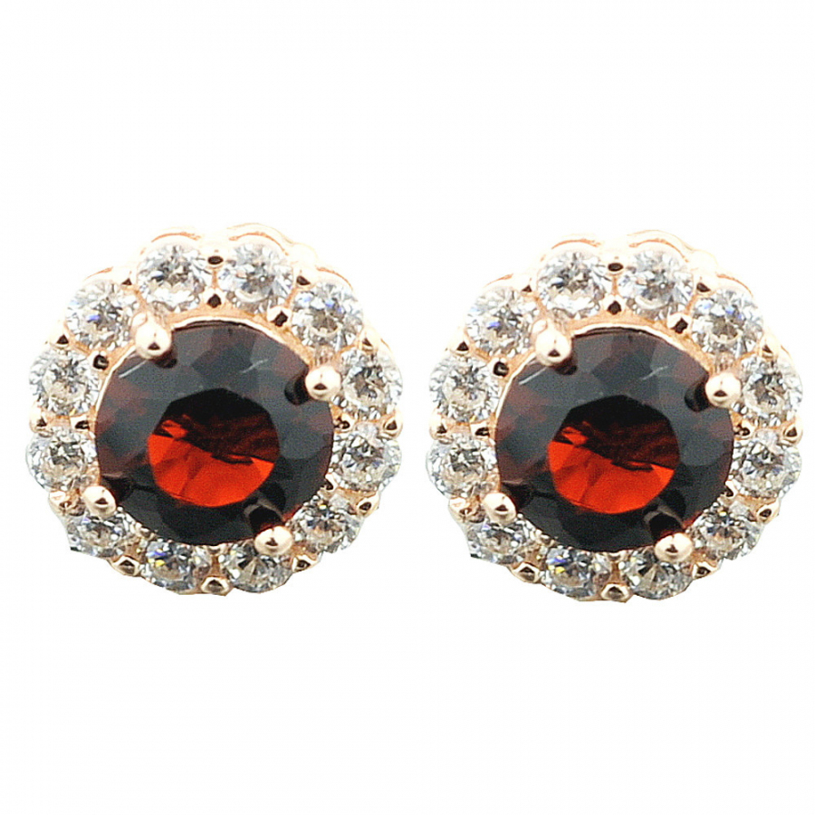 Rose Gold-Tone Silver Earrings With Red and White Cz Halo Style 9mm Wide Screw Back