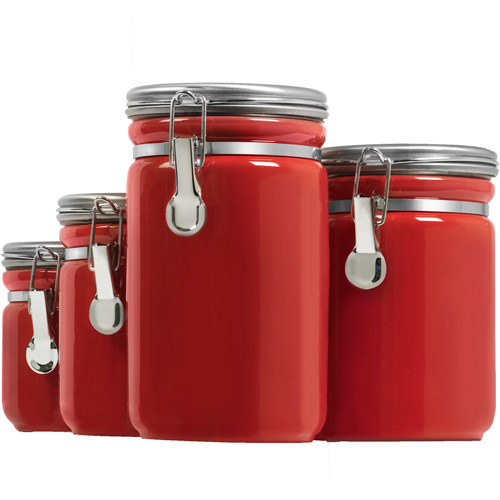 Great Anchor Hocking 4 Piece Ceramic Canister Set, Red