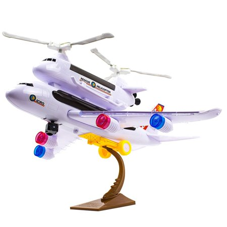 Toysery 2-in-1 Bump & Go Action, Kids Police Airplane Toy with Attached Rescue Helicopter, Flashing 4D Lights and Sounds