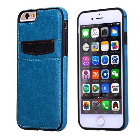 Blue Leather Phone Case Wallet Cover Card ID Slots Protective Skin w Reinforced Protection P5W for iPhone 6 6S