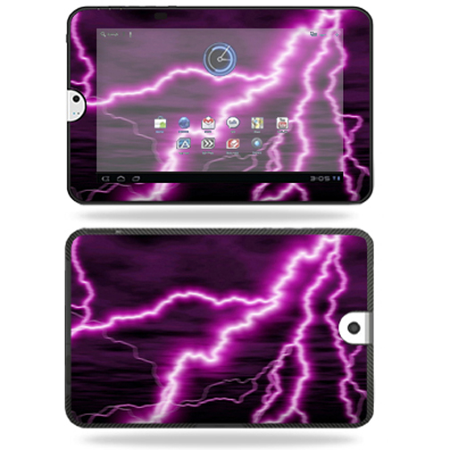Mightyskins Protective Vinyl Skin Decal Cover for Toshiba Thrive 10.1 Android Tablet wrap sticker skins Purple Lightning