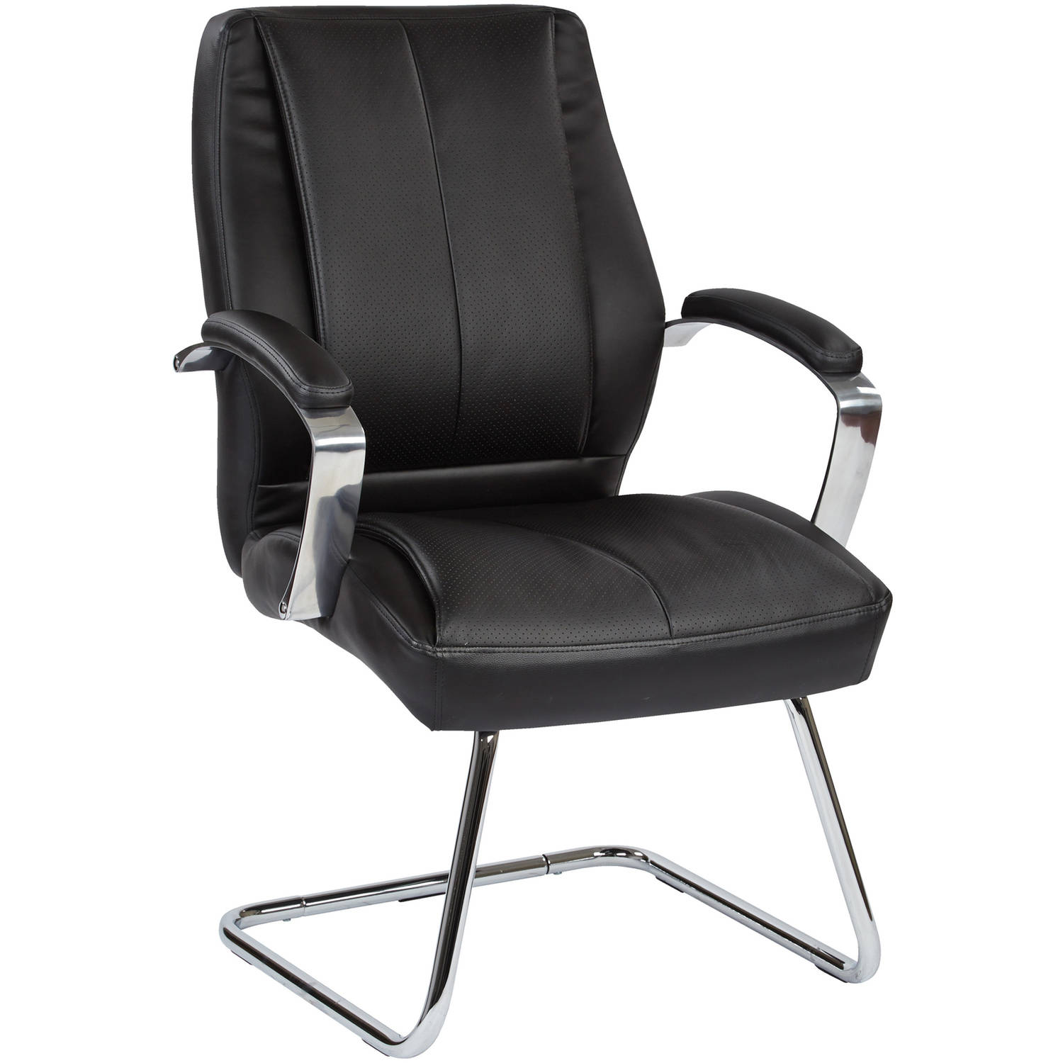 Office Star Deluxe Mid Back Executive Black Bonded Leather Visitors Chair with Chrome Finish Base and Padded Polished Aluminum Arms