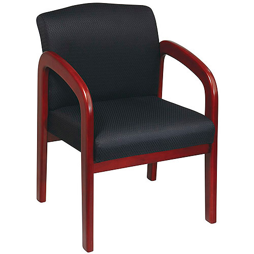 Office Star Work Smart Faux-Leather Cherry Finish Wood Guest Chair, Black