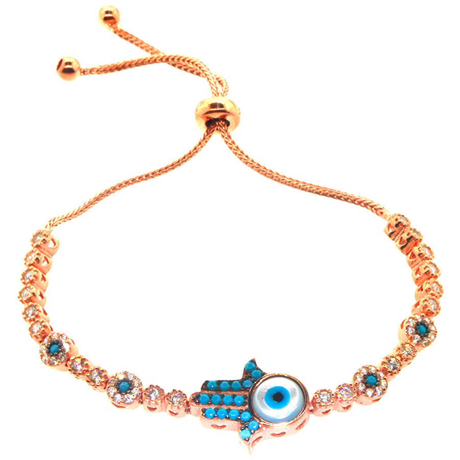Pori Jewelers Turquoise Cubic Zirconia 18kt Rose Gold-Plated Sterling Silver Hamsa Friendship Bolo Adjustable Bracelet by Best Silver