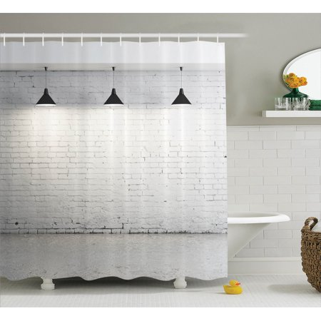 Abstract Home Decor Shower Curtain Set Brick Concrete Room With Three Ceiling Lamps Modern Minimalistic