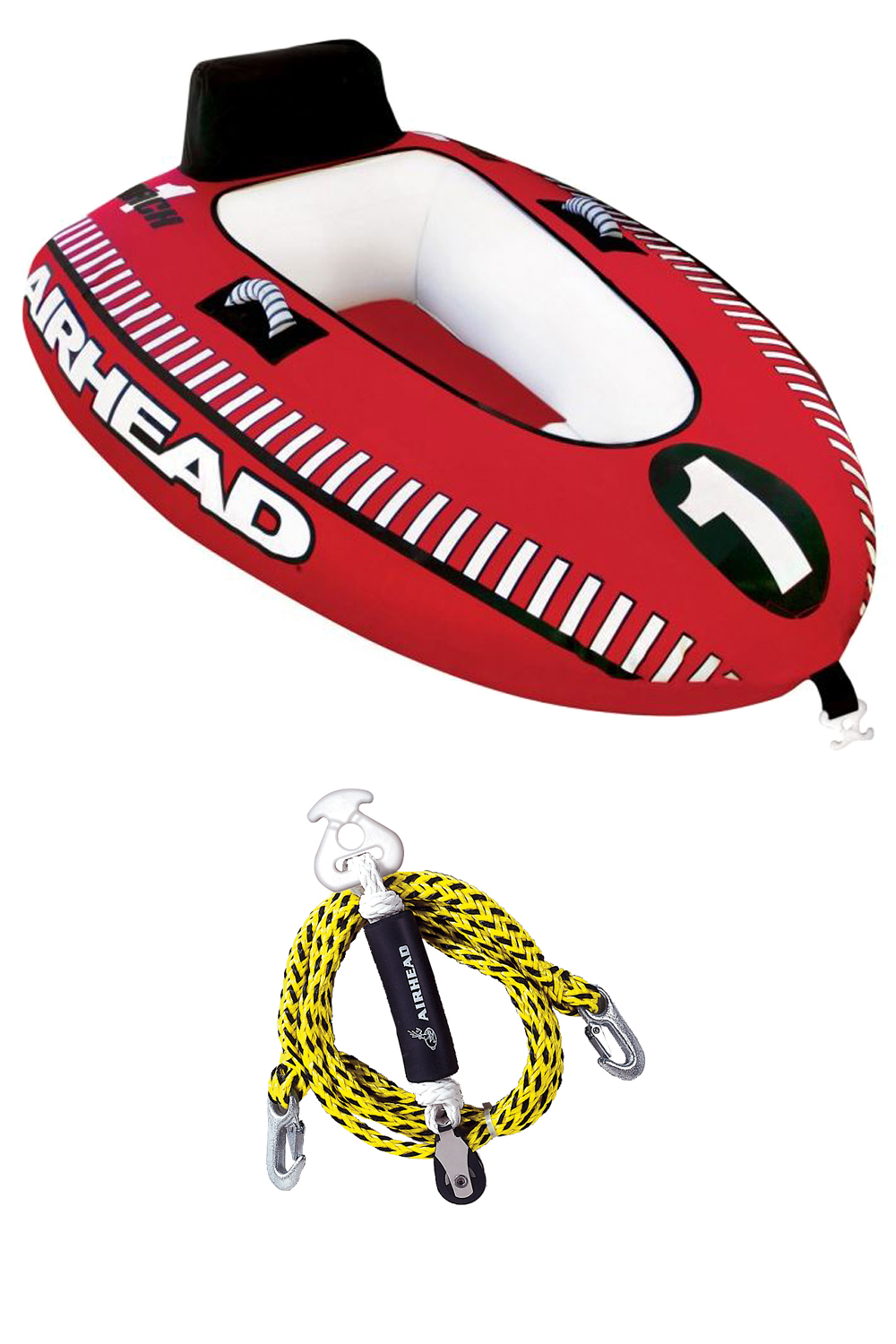 Airhead Mach 1 Single Rider Inflatable Boat Towable Tube + Tow Harness | AHM1-1 by Kwik Tek