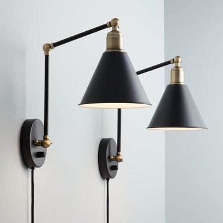 - 360 Lighting Modern Wall Lamp Plug-In Set of 2 Black and Antique Brass for Bedroom Reading Living Room