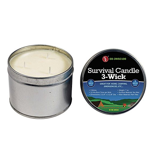 SE Survival Candle 3 Wicks, 36 Total Hrs., Soy Wax, Tin Box OD-3WSC100 by