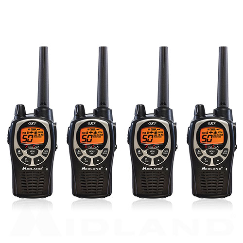 Midland GXT1000VP4 Xtra Talk Two Way Radio 50 Channels 36 Mile Range JIS4 Waterproof (4 Pack)