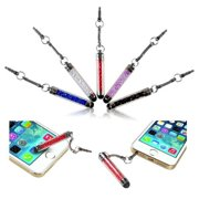 Insten 10-Piece Universal Colorful Crystal Glitter Sparking Mini Stort Stylus Touch Screen 3.5mm Jack Dust Cap Pen For Tablet Tab Laptop Smartphone iPhone 6 6S Plus iPad Mini Air Pro / Samsung LG HTC