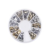 6 Styles Silver/Gold Nail Art 3D Glitter Rhinestones Gems Decoration Wheel