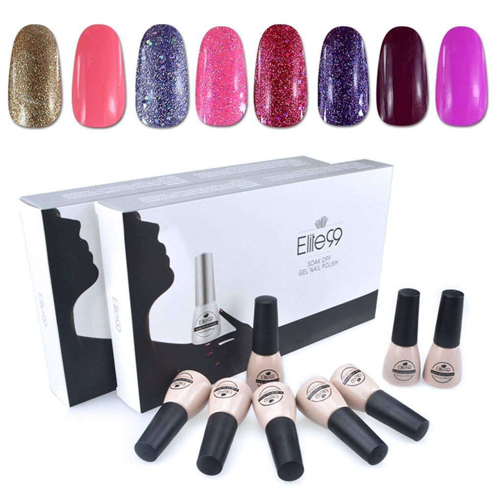 Elite99 Soak Off UV LED Gel Nail Polish 8 Colors Lacquer Manicure Pedicure Nail Art Decoration C034