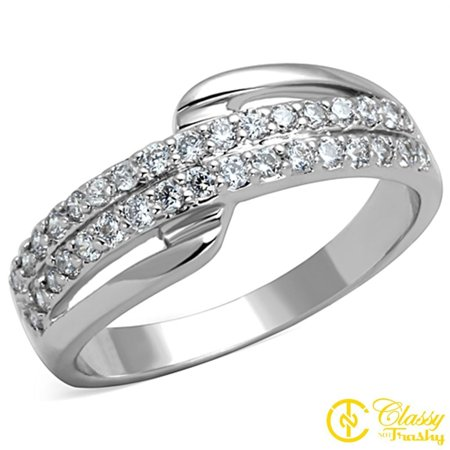 - Classy Not Trashy® Size 9 Women's Double Row Cubic Zirconia CZ Ring with Clear Stones
