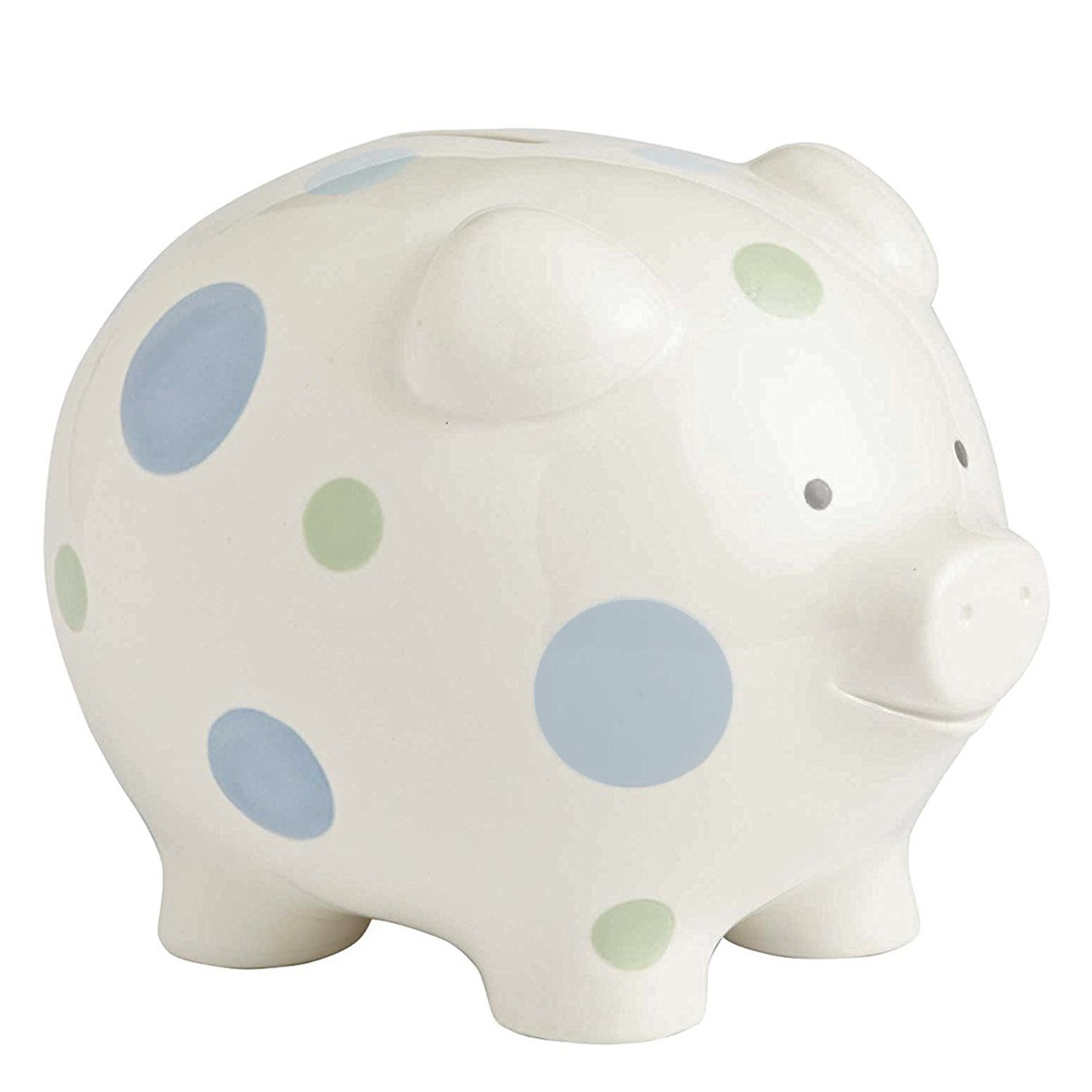 Beginnings Big Polka Dot Piggy Bank, 7 inches, Blue, A fu...