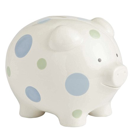 Beginnings Big Polka Dot Piggy Bank, 7 inches, Blue, A fun way to teach your little one the value of saving, this precious keepsake piggy bank is the gift that will.., By Enesco Ship from US