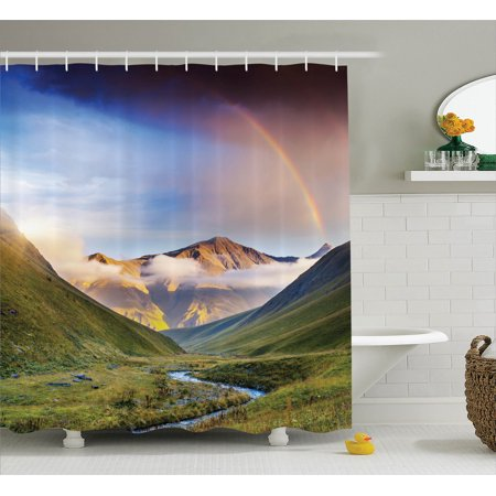 Lake House Decor Shower Curtain Set  Serene Meadow With Narrow Riverbed Mountains Rainbow Grass Clouds And Mist At Daytime  Bathroom Accessories  69W X 70L Inches  By Ambesonne