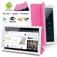 "Indigi® 7"" 3G Factory Unlocked 2-in-1 Phablet Android 4.4 SmartPhone & TabletPC w/ Built-in Smart Cover (Pink)"