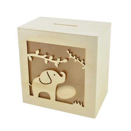 Scenic Elephant DIY Wood Piggy Bank, Natural,