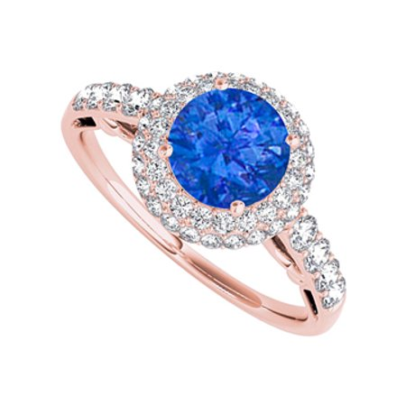 Halo Engagement Ring with Sapphire and CZ 1.50 CT TGW - image 1 de 2