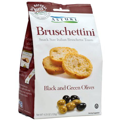 Asturi Bruschettini Black & Green Olives Bruschetta Toasts, 4.23 oz