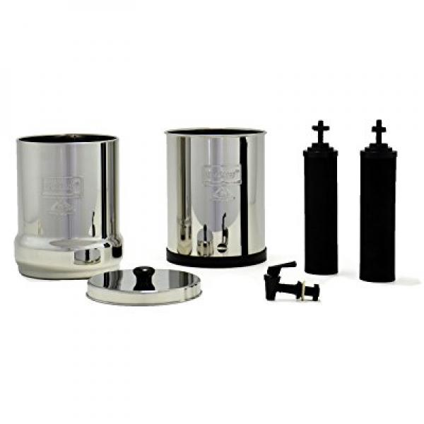 Travel  Berkey Water Purfiier w2 Black Filters and Stainless Steel Bottle
