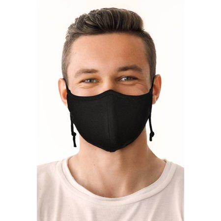 Reusable Cloth Fashion Face Mask with Adjustable Straps, Black
