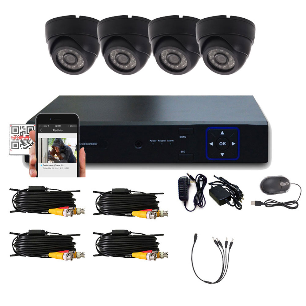Zimtown 4CH 960H HDMI DVR CCTV Home Security System with 4pcs 1300TVL Indoor/Outdoor Waterproof surveillance Camera Black Without Hard Drive