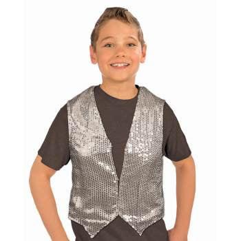 SEQUIN VEST-CHILD-SILVER (Silver Sequin Vest)