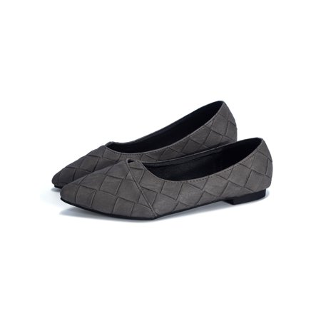 Roxy Gray Shoes (Fashion Shoes for Women  Slip on Flats Pointed Shoe Breathable Casual Shoes Spring Summer and Autumn Black Dark Green)